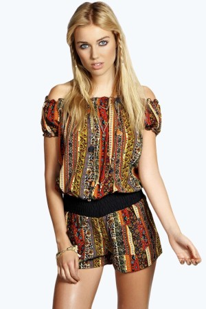 Emilee Mixed Paisley Off The Shoulder Playsuit15no30